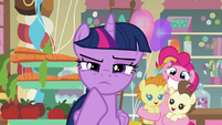 Pinkie holding Pound and Pumpkin behind Twilight S5E19