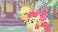Applejack hugs Apple Bloom S1E12