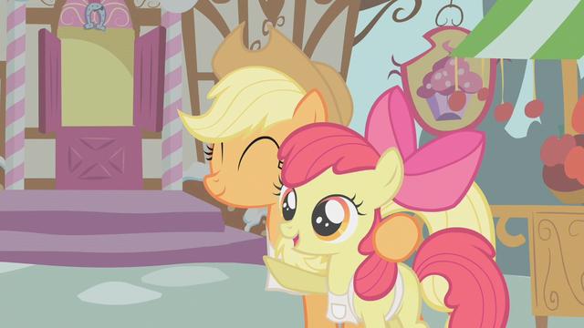 File:Applejack hugs Apple Bloom S1E12.png