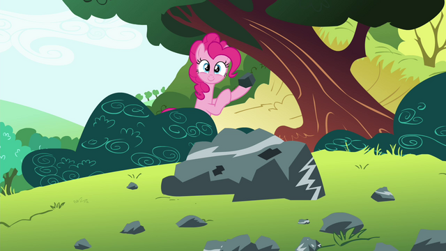 File:Pinkie Pie holding a rock S4E18.png
