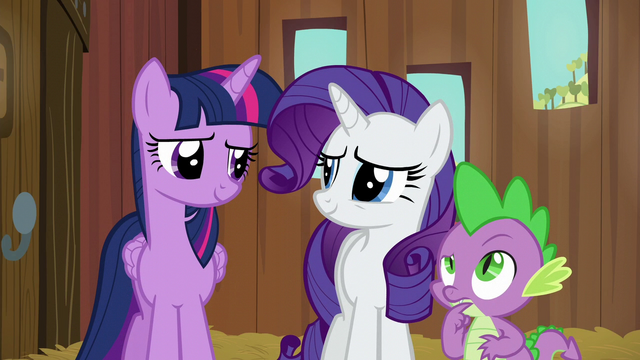File:Twilight and Rarity smiling; Spike in thought S6E10.png