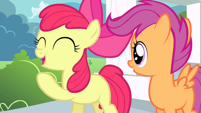 """File:Apple Bloom """"rootin-tootin"""" excited S4E05.png"""