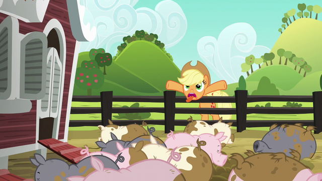 File:Applejack trying to scare the pigs S6E10.png