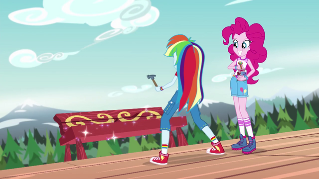 File:Pinkie Pie and Rainbow Dash construct a new bench EG4.png