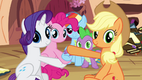 Spike and the ponies look at Fluttershy S3E05