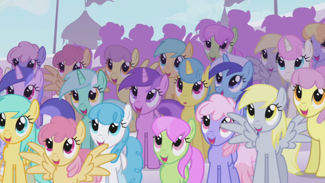 File:The ponies are admiring Rainbow Dash S1E03.png