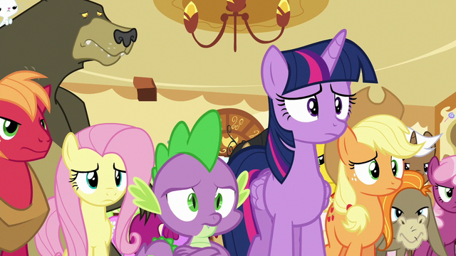 File:Twilight and ponies looking worried at Pinkie S6E15.png