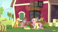 Fluttershy, AJ, and Wrangler at Sweet Apple Acres S7E5