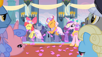 Apple Bloom and Scootaloo throwing out flowers S02E26