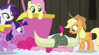 Pinkie Pie falls over onto the snowy ground S7E11