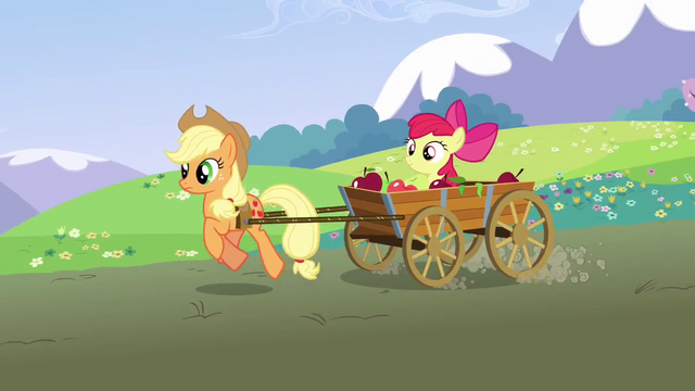File:Applejack pulling Apple Bloom in a cart S3E3.png