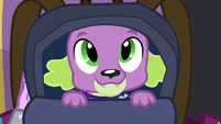 Spike inside Twilight's backpack EG3