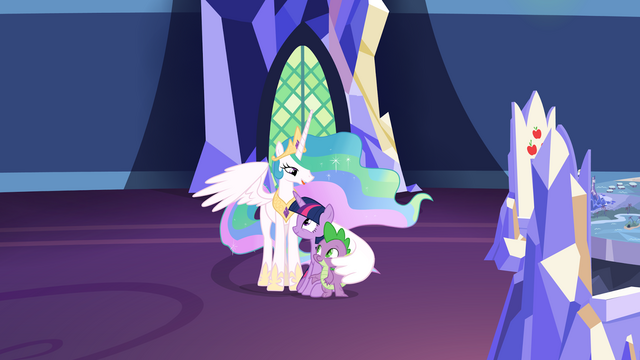 File:Celestia comforting Twilight and Spike S7E1.png