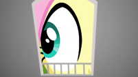 Fluttershy looking inside giant birdhouse S4E23