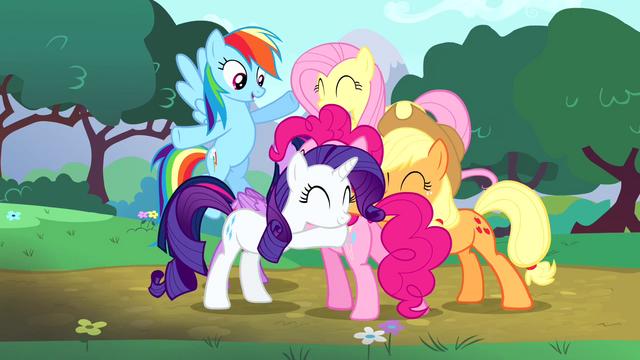 File:Main cast group hug around Pinkie S4E12.png