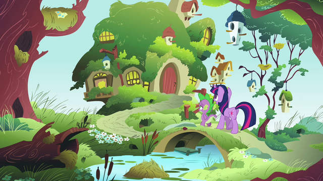 File:Twilight and Spike at Fluttershy's cottage S03E13.png