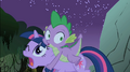 Frightened Spike jumps on Twilight's back S1E24.png