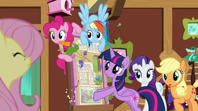 File:Main ponies staring at Fluttershy S7E5.png