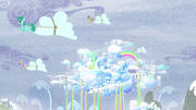 Ponies transporting clouds with Cloudsdale in background S5E5