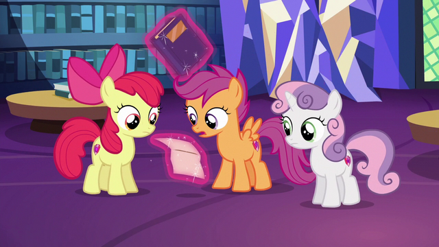 File:Scootaloo reading Gabby's letter aloud S6E19.png