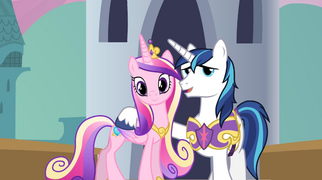 File:Cadance, Shining Armor, and Twilight on bridge S2E25.png