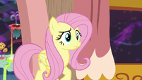 Fluttershy looking at Discord's snack table S7E12