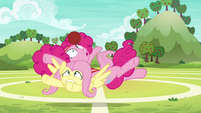 Pinkie Pie falls on top of Fluttershy S6E18