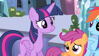 Twilight and Scootaloo worried about Spike S4E24