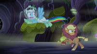 Applejack and Rainbow run from the monster S5E21
