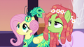 Fluttershy and Tree Hugger look up at Discord S5E7.png