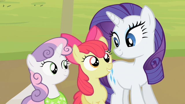 File:Sweetie Belle and Apple Bloom stand next to Rarity S2E05.png