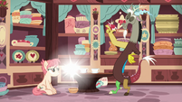 Discord snaps his fingers at the tea set S7E12