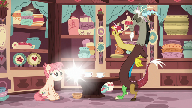 File:Discord snaps his fingers at the tea set S7E12.png