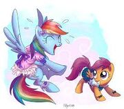 FANMADE Rainbow Dash playing with Scootaloo