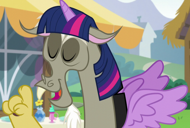 File:Discord as Twilight Sparkle ID S5E22.png
