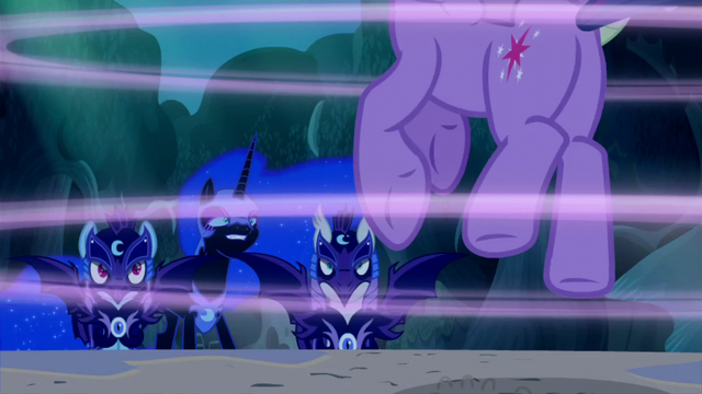 File:Nightmare Moon and guards see Twilight gets sucked into a portal S5E26.png