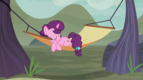 Sugar Belle napping in a hammock S7E8