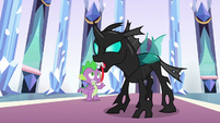 Thorax hisses menacingly at the ponies S6E16