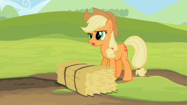 File:Applejack with bale of hay S02E05.png