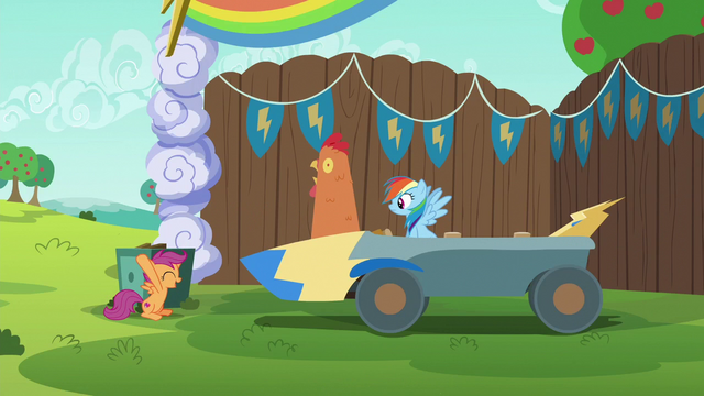 File:Scootaloo puts chicken head on speed cart S6E14.png