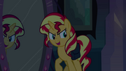 Sunset Shimmer about to step through the mirror EG