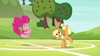 Applejack bucks the ball while Pinkie bounces S6E18