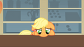 Applejack disappointed because Mr. Cake took the food before she could eat anything S1E22.png