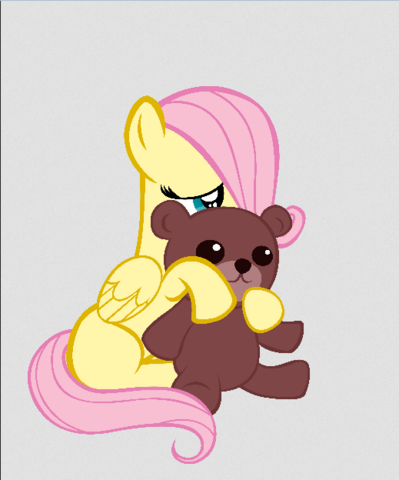 File:FANMADE Fluttershy cuddles her teddy bear.png