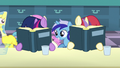 Fillies Twilight and Moon Dancer continue reading the books S5E12.png