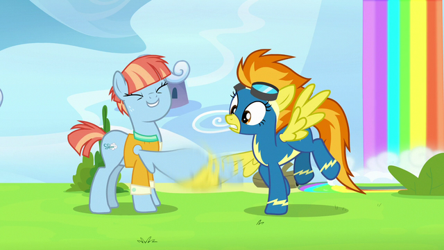 File:Windy Whistles vigorously shakes Spitfire's hoof S7E7.png