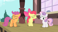 Apple Bloom and Scootaloo turn away from each other S4E05