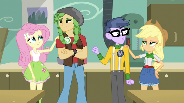 File:AJ and Fluttershy cheer up Micro and Sandalwood EG3.png