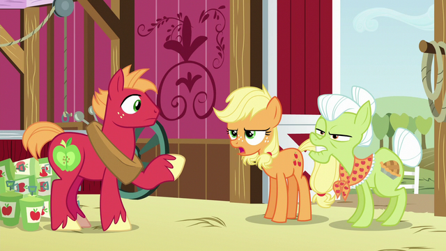 "File:Applejack and Granny ""can't plow a field with 'em"" S6E23.png"