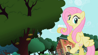 Fluttershy pointing at the tree S2E07